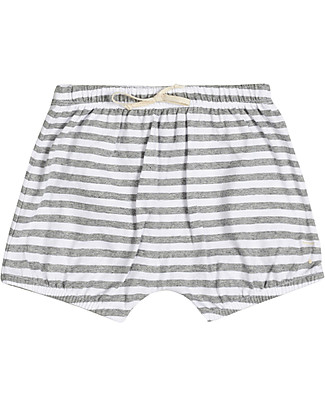 Gray Label Baby Summer Bloomer, Grey Melange/White Stripes - 100% organic cotton bloomer Shorts