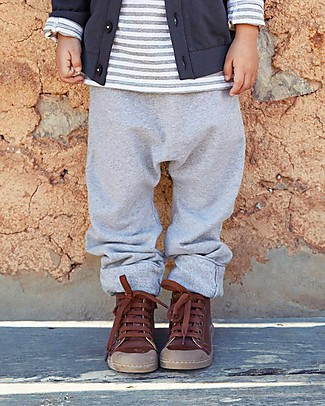 Gray Label Baggy Pant Seamless, Grey Melange - 100% Softest Organic Cotton Fleece - 12/24 months Trousers