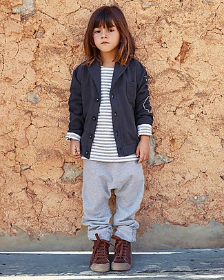 Gray Label Baggy Pant Seamless, Grey Melange - 100% Softest Organic Cotton Fleece - 2/4 years Trousers