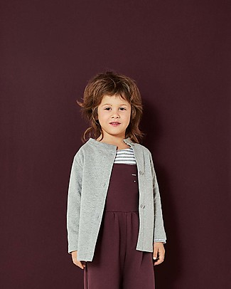 Gray Label Button Cardigan, Grey Melange (2+ years) - 100% organic Italian cotton fleece - Comfortable and warm Cardigans
