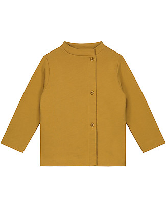 Gray Label Button Cardigan, Mustard (2+ years) - 100% organic Italian cotton fleece - Comfortable and warm Cardigans