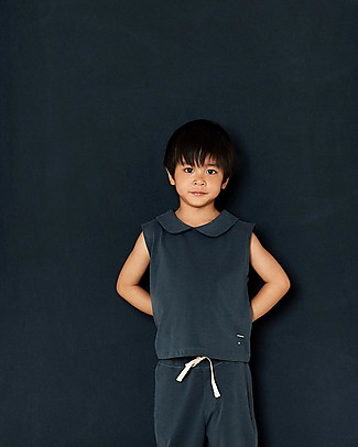 Gray Label Collar Tank Top, Blue Grey (2+ years) - 100% organic cotton Long Sleeves Tops
