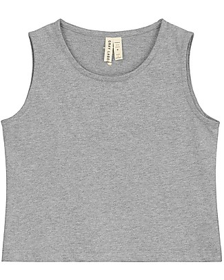 Gray Label Cropped Tank Top, Grey Melange (2+ years) - 100% organic cotton Long Sleeves Tops