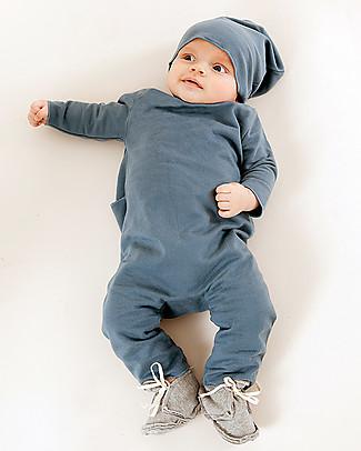 Gray Label Fleece Babysuit - Denim Blue - 100% Softest Organic Cotton Rompers
