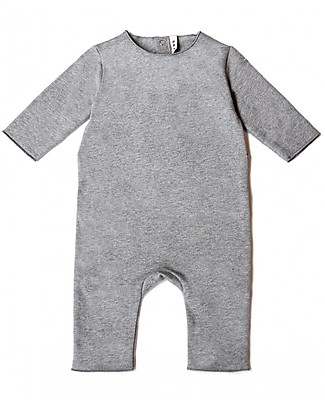 Gray Label Fleece Babysuit - Grey Melange - 100% Softest Organic Cotton Rompers