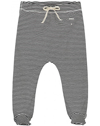 Gray Label Footies, Nearly Black/Cream Stripes - Organic Cotton Trousers