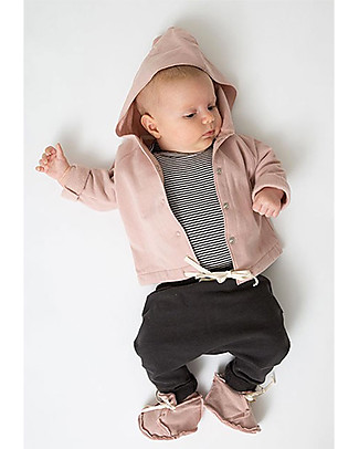 Gray Label Hooded Baby Cardigan Organic Cotton Fleece, Vintage Pink  Sweatshirts