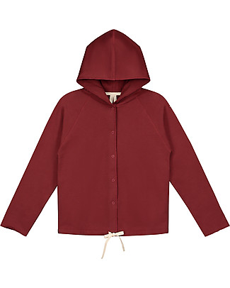 Gray Label Hooded Cardigan with Snaps, Burgundy - 100% softest organic cotton fleece Cardigans