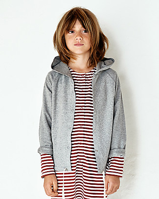 Gray Label Hooded Cardigan with Snaps, Grey Melange - 100% softest organic cotton fleece Cardigans