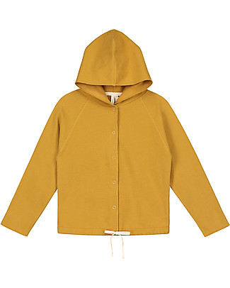 Gray Label Hooded Cardigan with Snaps, Mustard - 100% softest organic cotton fleece Cardigans