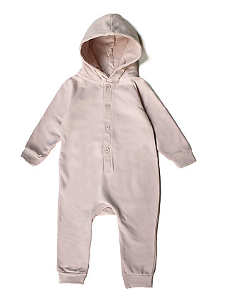 Gray Label Hooded Jumpsuit, Vintage Pink - 100% Softest Organic Cotton Fleece Rompers
