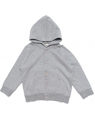 Gray Label Hooded Sweater, Grey Melange - 100% Softest Organic Cotton Fleece - 2/4 years Sweatshirts
