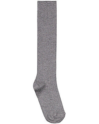 Gray Label Long Ribbed Socks, Grey Melange - Elasticated organic cotton Socks
