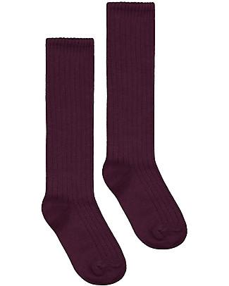 Gray Label Long Ribbed Socks, Plum - Elasticated organic cotton Socks