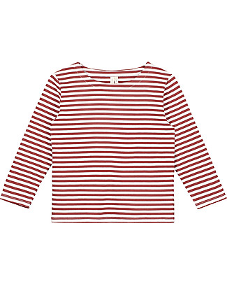 Gray Label Long Sleeved Striped Tee, Burgundy/White Stripes - 100% organic cotton jersey Long Sleeves Tops