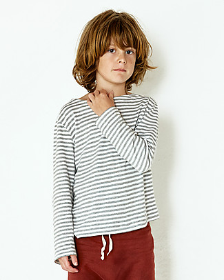 Gray Label Long Sleeved Striped Tee, Grey Melange/White Stripes - 100% organic cotton jersey Long Sleeves Tops