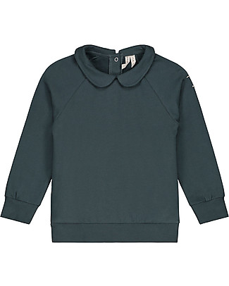 Gray Label Long Sleeves Collar Sweater, Blue Grey (Sizes 2+ years) - 100% Softest Organic Cotton Sweatshirts