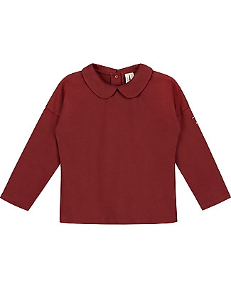 Gray Label Long Sleeves Collar Tee, Burgundy - 100% Softest Organic Cotton Long Sleeves Tops