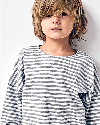 Gray Label Long Sleeves Dropped Shoulder Tee, Grey Melange/White Stripe (from 2 years old) - 100% organic cotton Long Sleeves Tops