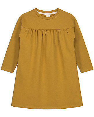 Gray Label Long Sleeves Pleated Dress, Mustard - 100% organic cotton fleece Dresses