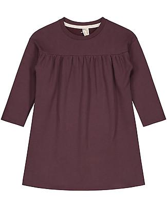 Gray Label Long Sleeves Pleated Dress, Plum - 100% organic cotton fleece Dresses
