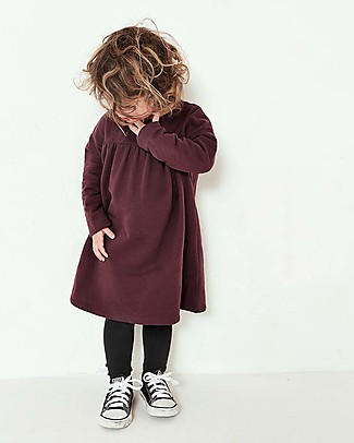 Gray Label Long Sleeves Pleated Dress, Plum - 100% organic cotton fleece Dresses