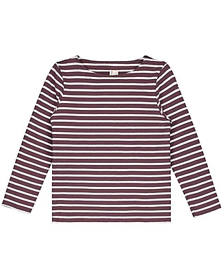 Gray Label Long Sleeves Striped Tee Plum/White Stripe (2+ years) - 100% organic cotton Long Sleeves Tops