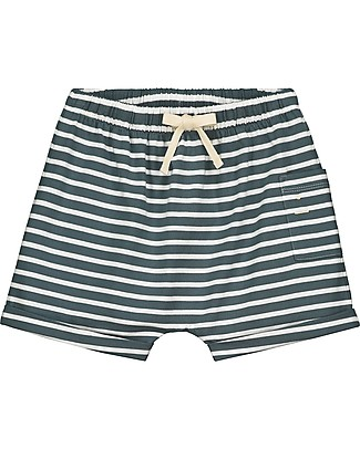 Gray Label One Pocket Shorts, Blue Grey/White Stripe (18-24 months) - 100% Organic cotton Shorts