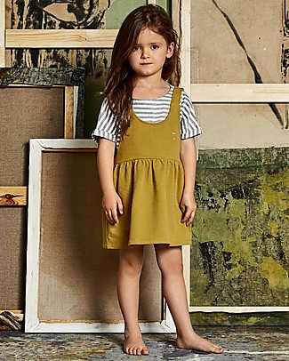 Gray Label Pinafore Dress, Mustard (2+ years) - 100% soft organic Italian cotton fleece Dresses
