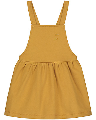 Gray Label Pinafore Dress, Mustard (2+ years) - 100% soft organic Italian cotton fleece Dresses