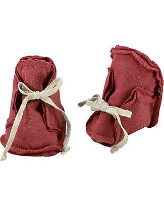 Gray Label Raw Baby Booties Burgundy - 100% Softest Organic Cotton Shoes