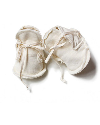 Gray Label Raw Baby Booties Cream - 100% Softest Organic Cotton Slippers