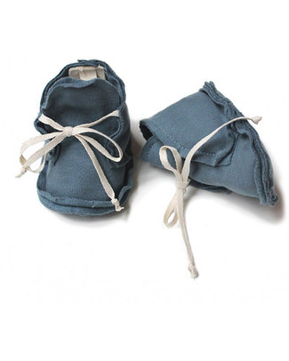Gray Label Raw Baby Booties Denim Blu - 100% Softest Organic Cotton Slippers