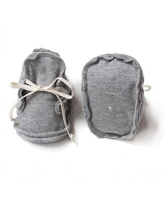 Gray Label Raw Baby Booties Grey - 100% Softest Organic Cotton Slippers