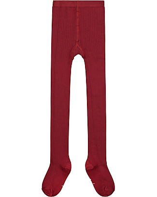 Gray Label Ribbed Tights, Burgundy - Elasticated organic cotton Tights