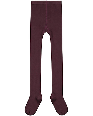 Gray Label Ribbed Tights, Plum - Elasticated organic cotton Tights
