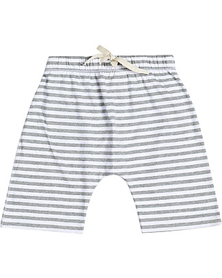Gray Label Shorts, Grey Melange/White Stripes - 100% organi cotton jersey Shorts