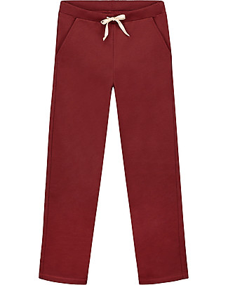 Gray Label Straight Pants, Burgundy - 100% softest organic cotton fleece Trousers
