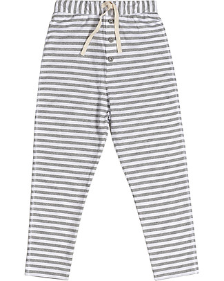 Gray Label Summer Drop-Crotch Trousers, Grey Melange/White Stripes - 100% softest organic jersey Trousers