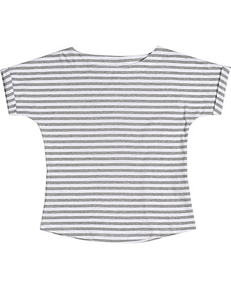 Gray Label Summer Wide Neck Tee, Grey Melange/White Stripes - 100% organic cotton jersey T-Shirts And Vests