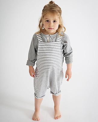 Gray Label Unisex Shortleg Dungarees, White/Grey Melange Stripes - 100% Organic Cotton - 2/4 years Dungarees