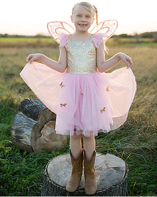 Great Pretenders Butterfly Girl Fancy Dress, Gold/Pink with Glitter - Includes dress and wings! null