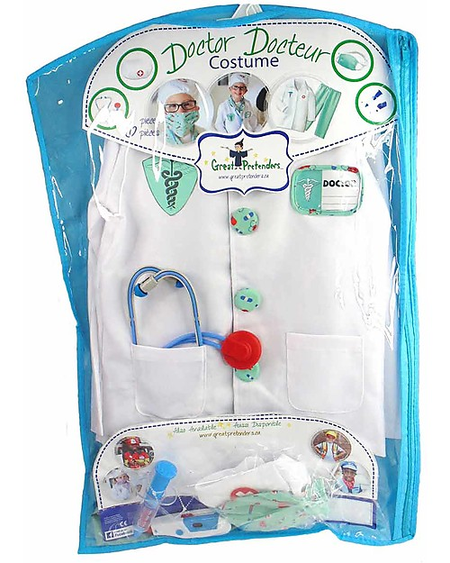Great Pretenders Green Doctor with Accessories Set - 8 Pieces Dressing Up & Role Play