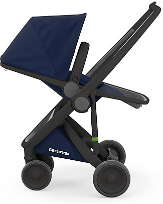 Greentom Greentom Reversible + Fabric - Black Frame & Blue Seat - Eco-friendly & Recyclable! Pushchairs