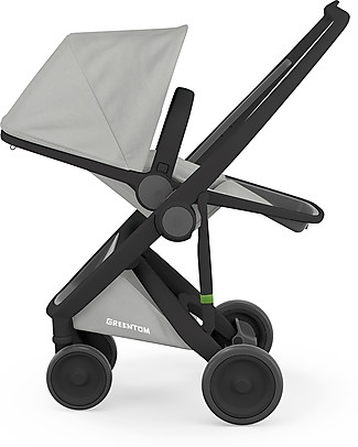 Greentom Greentom Reversible + Fabric - Black Frame & Grey Seat - Eco-friendly & Recyclable! Pushchairs