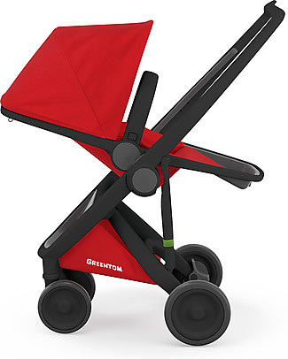 Greentom Greentom Reversible + Fabric - Black Frame & Red Seat - Eco-friendly & Recyclable! Pushchairs