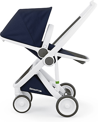Greentom Greentom Reversible + Fabric - White Frame & Blue Seat - Eco-friendly & Recyclable! Pushchairs