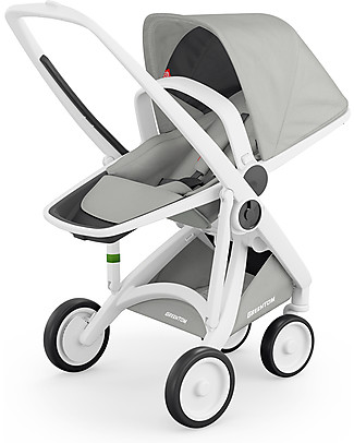 Greentom Greentom Reversible + Fabric - White Frame & Grey Seat - Eco-friendly & Recyclable! Pushchairs