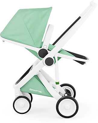Greentom Greentom Reversible + Fabric - White Frame & Mint Seat - Eco-friendly & Recyclable! Pushchairs