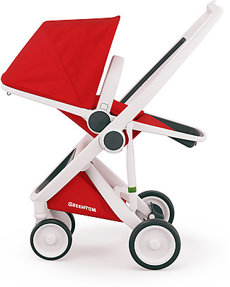 Greentom Greentom Reversible + Fabric - White Frame & Red Seat - Eco-friendly & Recyclable! Pushchairs